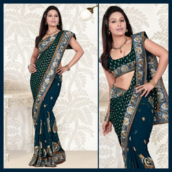 Deep Blue Faux Georgette Saree With Blouse (106)