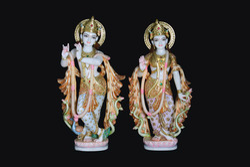 Krishna and Radha Marble Statue