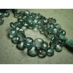 Natural Moss Aquamarine Faceted Heart Briolettes