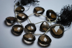 Smoky Quartz Faceted Heart Briolettes