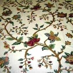 Crewel Furnishing Fabric Hand Embroidered Floral Crewel
