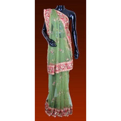 Net Saree With Silk Border