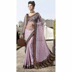 Lavender Black Border Embroidered Net Sarees