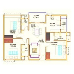 Architectural Layout Services - 2BHK Sample Flat Layout Plan1110SQ