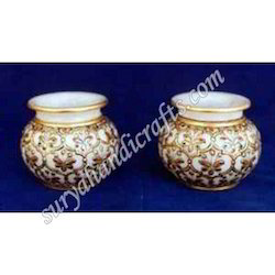 Marble Lotta Pots With Meena Work
