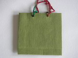 Mat Handmade Paper Bag with Recycled Thread Handle