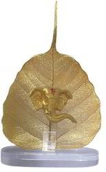 Gold Plated Ganesha Statue On Peepal Leaves