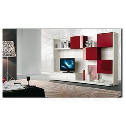 Interior Services, Modern Interior Studio, Red Plastic TV Wall ...