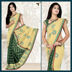 Deep Green Viscose Saree With Blouse (104)