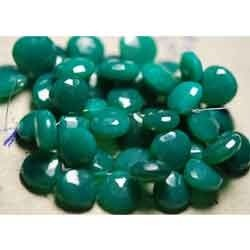 Green Chalcedony Faceted Heart Shape Briolettes
