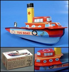 Lithographed Tug Pop Pop Toy Boat