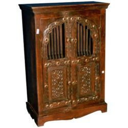 Brass worked Carving & Iron mesh Door Cabinet