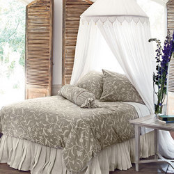 Crewel Bedding Tech Natural Brown Linen