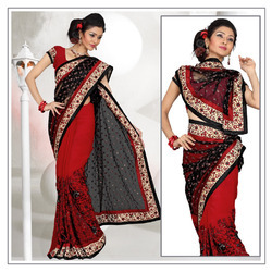 Magical Red Faux Georgette Saree With Blouse (209)