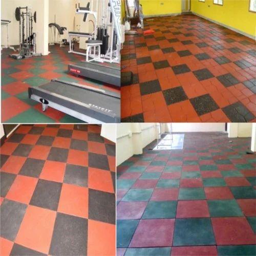 White rubber floor tiles