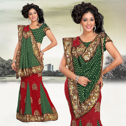 Romantic Red Faux Georgette Lehenga Style Saree (229)