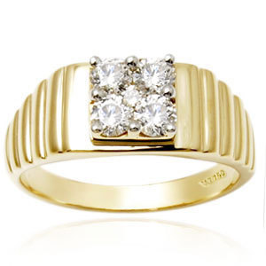 Studded Gold Ring, Mens Diamond Rings