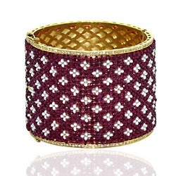 Diamond And Ruby Beaded Bangle