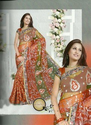 Embroidered Half- And- Half Sarees