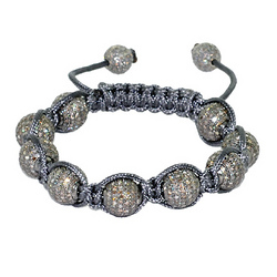 Diamond Pave Bead Macrame Bracelet