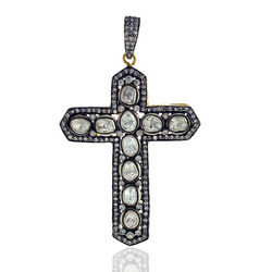 Rose cut diamond Cross Pendant