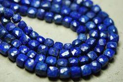 Lapis Lazuli Faceted 3d Cube Briolettes