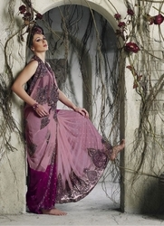 sareegalaxy - Rosy Pink Faux Georgette Ready to Wear Saree with Blouse