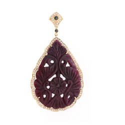 Carved Ruby Pendant