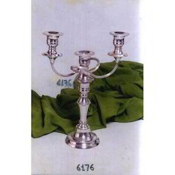 Brass Candle Holder With Silver Plating