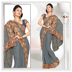 Twilight Grey Viscose Saree With Blouse (214)
