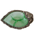 paan shape bowl- white metal bowl