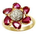 Pear Ruby Gold Ring