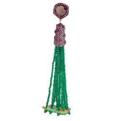 Green Onyx Pave Diamond Tassel Pendants