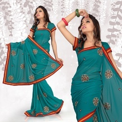 Magical Teal Faux Georgette Saree With Blouse