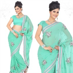 Turquoise Faux Georgette Saree With Blouse