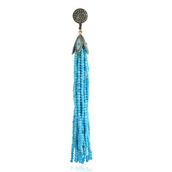 Beaded Turquoise Diamond Tassel Pendants