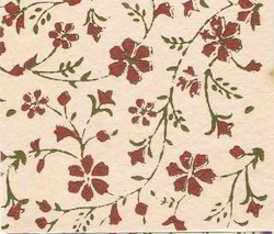 Floral Design Block Printed Handmade Papers For Scrapbooking