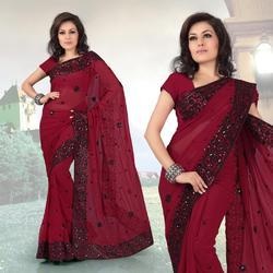 Brick Red Faux Georgette Saree With Blouse