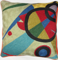 Crewel ChainStitch Pillow Wild Timothy Multi Cotton