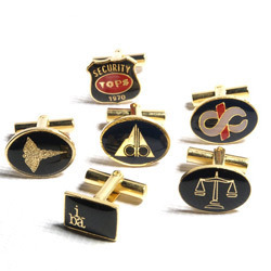 Cufflink with corporate logo