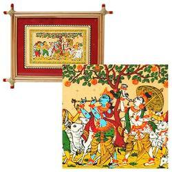 Krishna Silk Painting