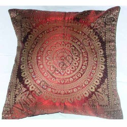 Poly Silk Woven Cushion With Sequence Work