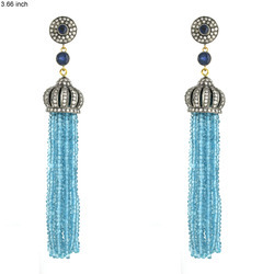 Designer Blue Topaz Tassel Earrings