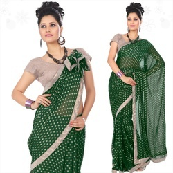 Deep Green Viscose Saree With Blouse