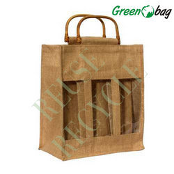 Jute Three Bottle Bags
