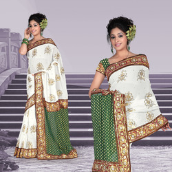 Elegant White Faux Georgette Saree With Blouse