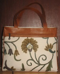 Crewel Handbag Kangaalposh White Cotton