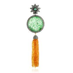 Garnet Beads Diamond Tassel Pendant