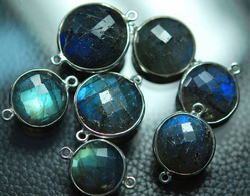 Labradorite Faceted Coins Silver Briolettes