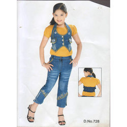girls embroidery jeans capris